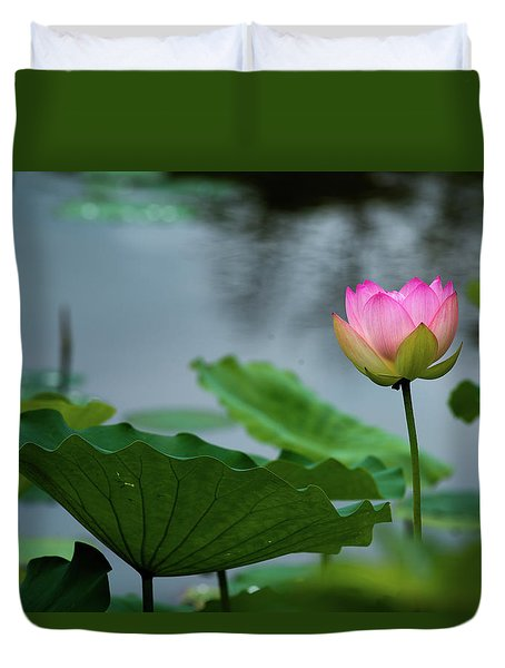 Glowing Lotus Lily Duvet Cover