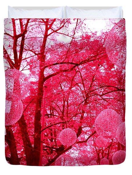 Glowing Pink Trees Duvet Cover