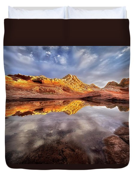 Glowing Rock Formations Duvet Cover