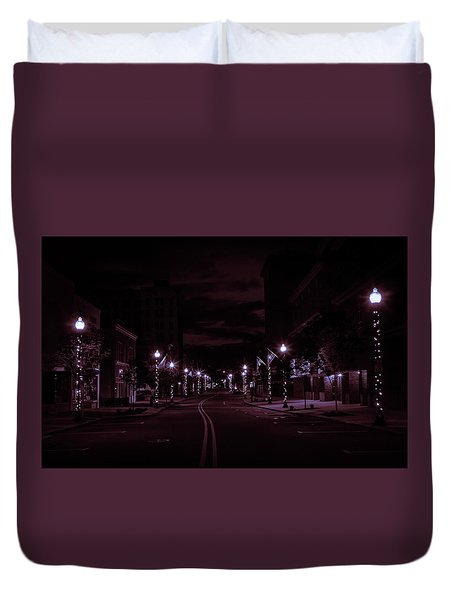 Glowing Streets Downtown Duvet Cover