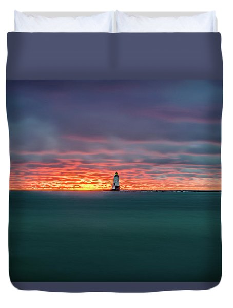 Glowing Sunset On Lake With Lighthouse Duvet Cover