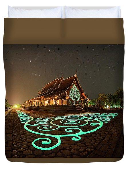 Duvet Cover featuring the photograph Glowing Wat Sirintorn Wararam Temple, Ubon by Pradeep Raja Prints