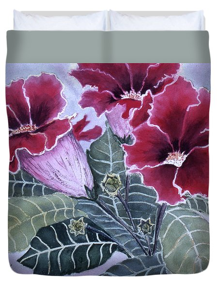 Duvet Cover featuring the painting Gloxinias by Karen Zuk Rosenblatt