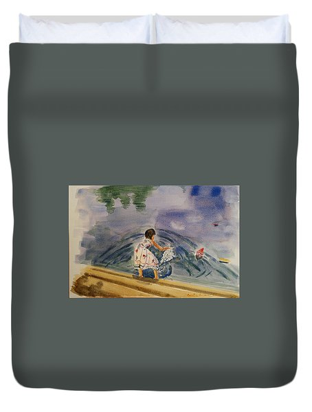 Go Baby Go Watercolor Painting Duvet Cover by Geeta Biswas