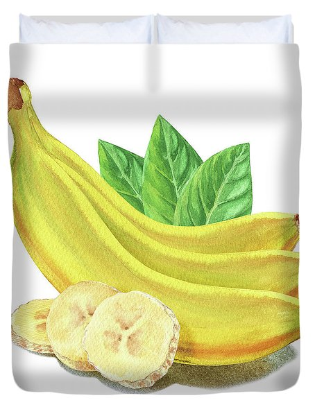 Duvet Cover featuring the painting Go Bananas Still Life by Irina Sztukowski