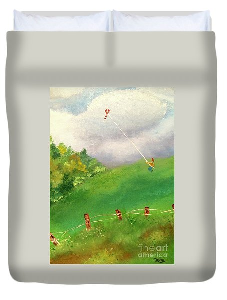 Duvet Cover featuring the painting Go Fly A Kite by Denise Tomasura