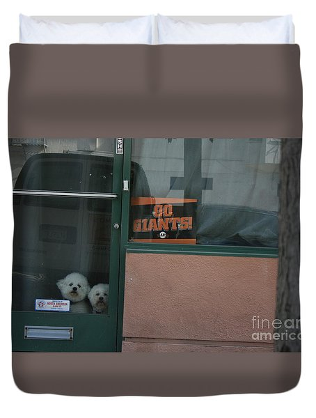 Duvet Cover featuring the photograph Go Giants by Cynthia Marcopulos