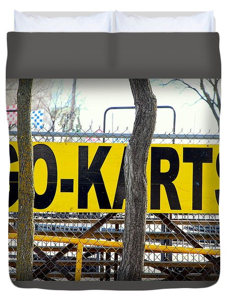 Duvet Cover featuring the photograph Go Karts by Valentino Visentini