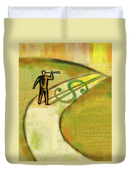 Duvet Cover featuring the painting Goal by Leon Zernitsky