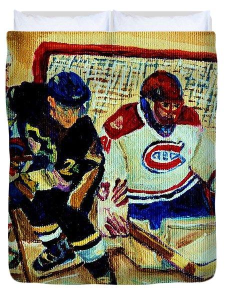Goalie  And Hockey Art Duvet Cover by Carole Spandau