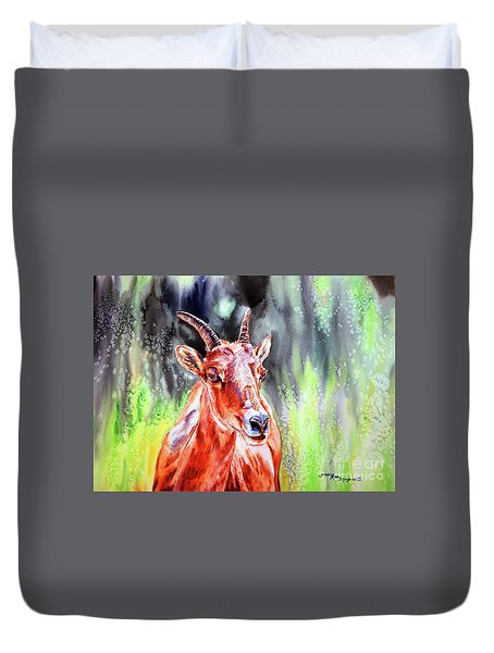 Goat From The Mountain Duvet Cover by Tracy Rose Moyers