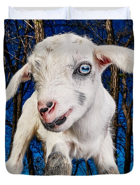 Goat High Fashion Runway Duvet Cover by TC Morgan