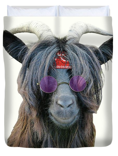 Goat Hippie Red Bandana Americana Duvet Cover