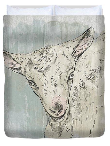 Goat Portrait-farm Animals Duvet Cover