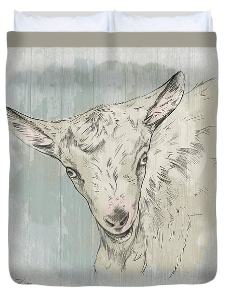Goat Portrait-farm Animals Duvet Cover