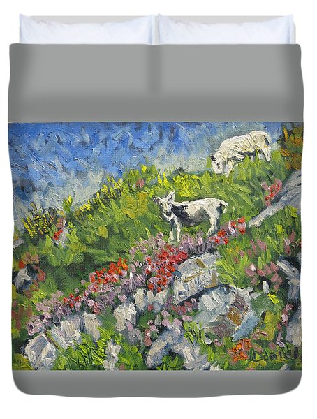 Goats On Hill Duvet Cover by Michael Daniels
