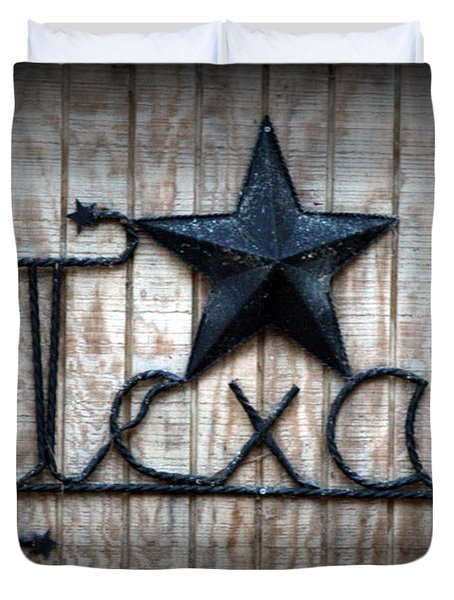 Duvet Cover featuring the photograph God Bless Texas by Kathy  White
