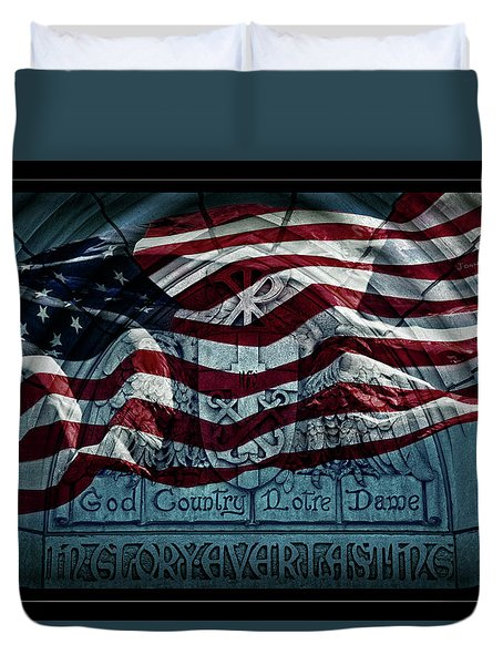God Country Notre Dame American Flag Duvet Cover