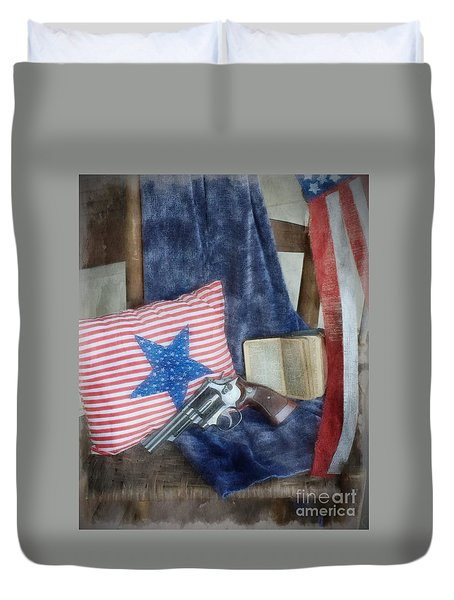 Duvet Cover featuring the photograph God, Guns And Old Glory by Benanne Stiens