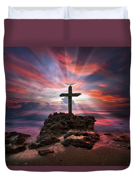 Duvet Cover featuring the photograph God Is My Rock Special Edition Fine Art by Justin Kelefas