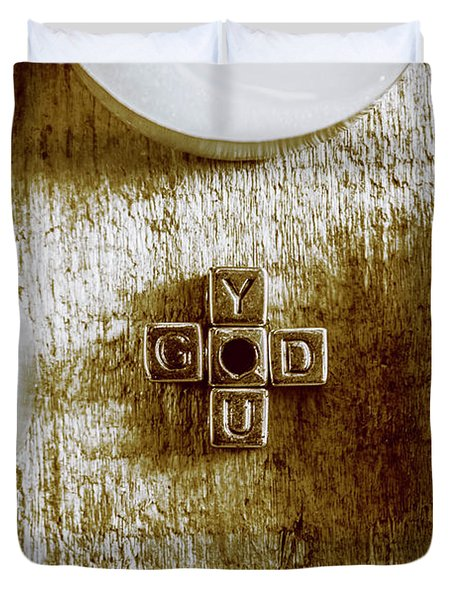 God Is You Metal Lettering Typography Near White Candles, Faith  Duvet Cover