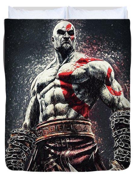 Duvet Cover featuring the digital art God Of War - Kratos by Taylan Apukovska
