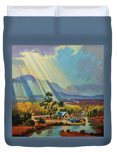 Duvet Cover featuring the painting God Rays On A Blue Roof by Art West