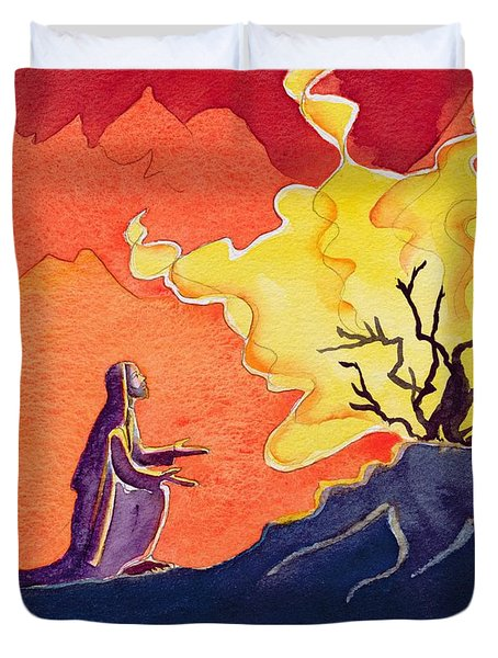 God Speaks To Moses From The Burning Bush Duvet Cover by Elizabeth Wang