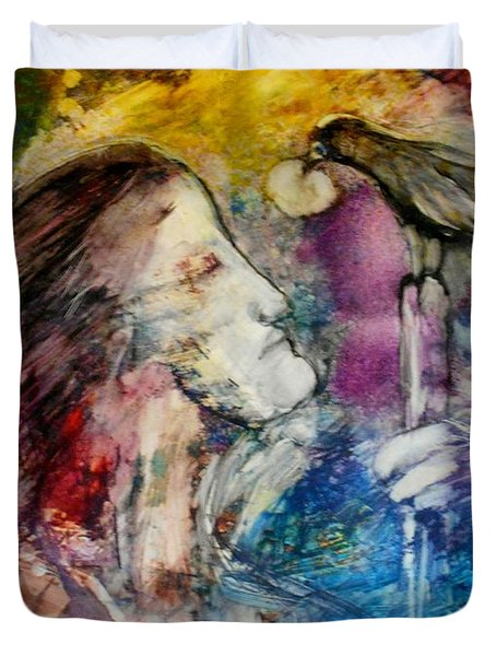 Duvet Cover featuring the painting God Will Provode by Deborah Nell
