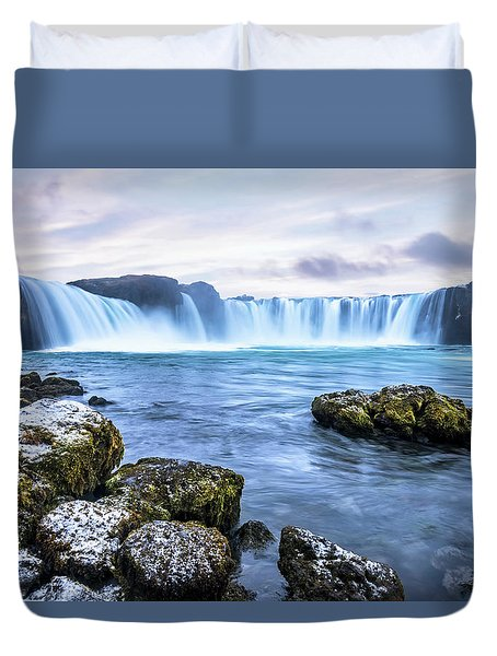 Godafoss Waterfall In Iceland Duvet Cover by Joe Belanger
