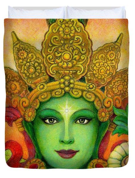 Goddess Green Tara's Face Duvet Cover