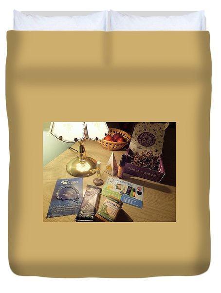 Duvet Cover featuring the photograph Goddess Provisions Box For June 2017 by Denise Fulmer