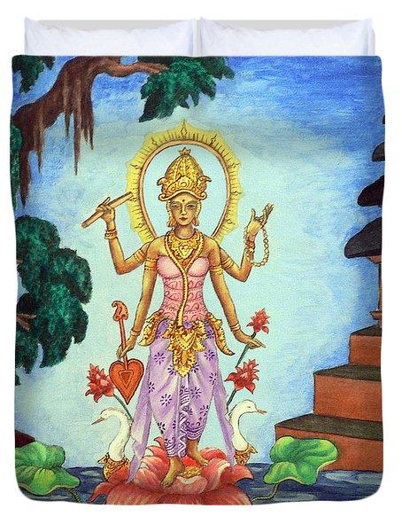Goddess Saraswati Duvet Cover