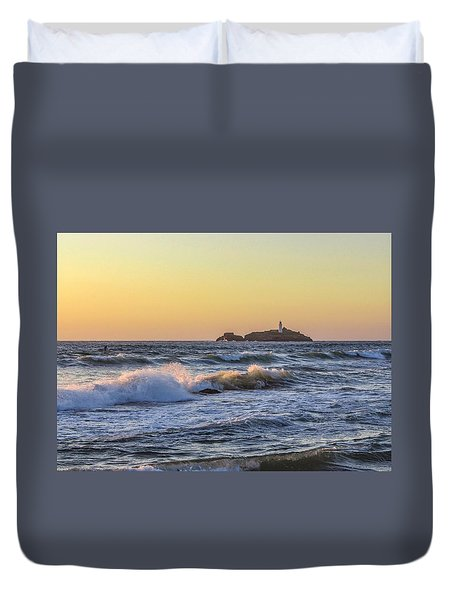 Godrevy Lighthouse  Duvet Cover by Claire Whatley