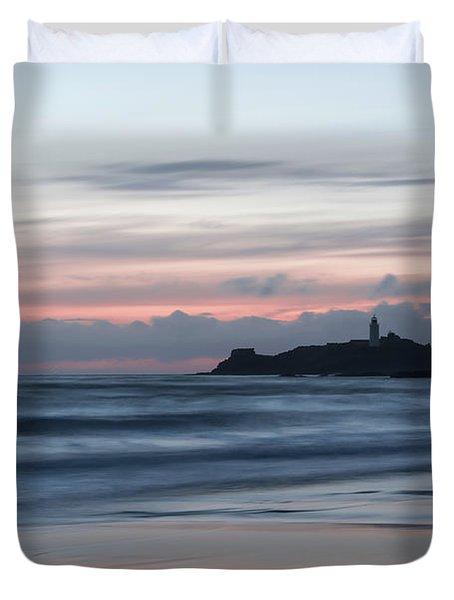 Godrevy Lighthouse From The Beach Duvet Cover