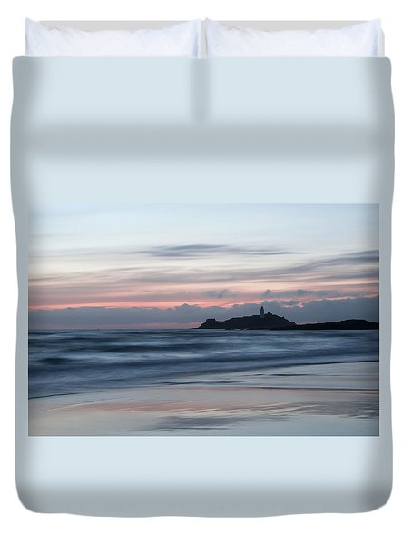 Godrevy Lighthouse From The Beach Duvet Cover