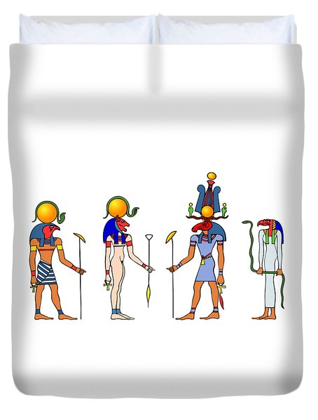 Gods And Goddess Of Ancient Egypt Duvet Cover by Michal Boubin