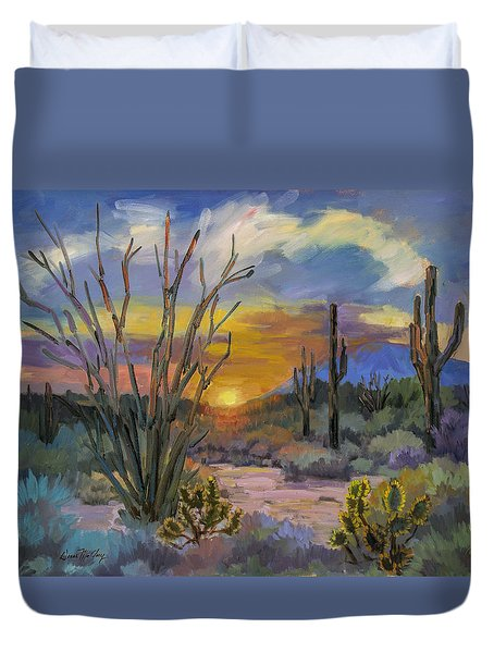 God's Day - Sonoran Desert Duvet Cover by Diane McClary