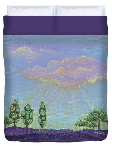 Duvet Cover featuring the painting God's Grace by Tanielle Childers