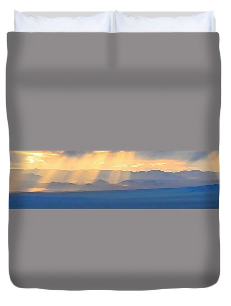 God's Rays Over The Great Basin  Duvet Cover