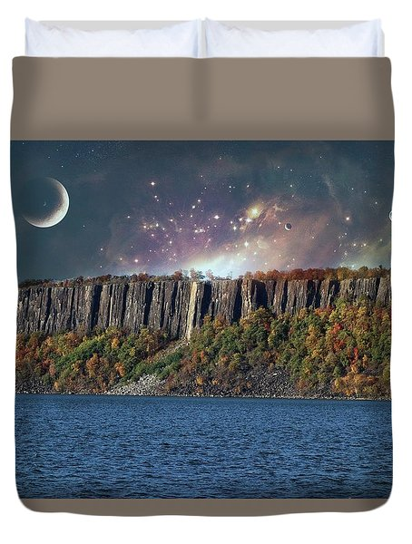 God's Space Over Planet Earth Duvet Cover