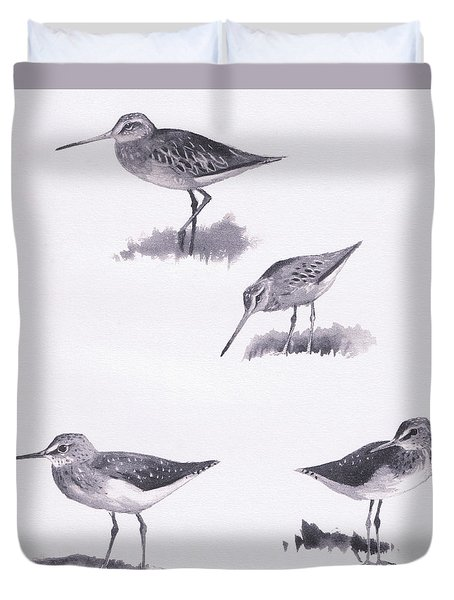 Godwits And Green Sandpipers Duvet Cover by Archibald Thorburn