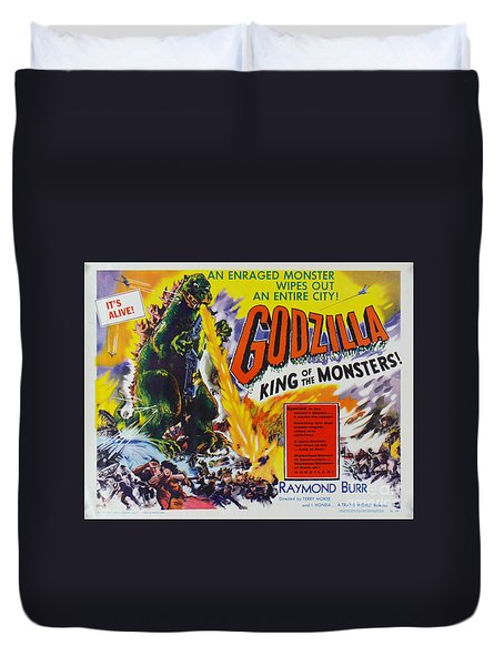 Godzilla King Of The Monsters An Enraged Monster Wipes Out An Entire City Vintage Movie Poster Duvet Cover