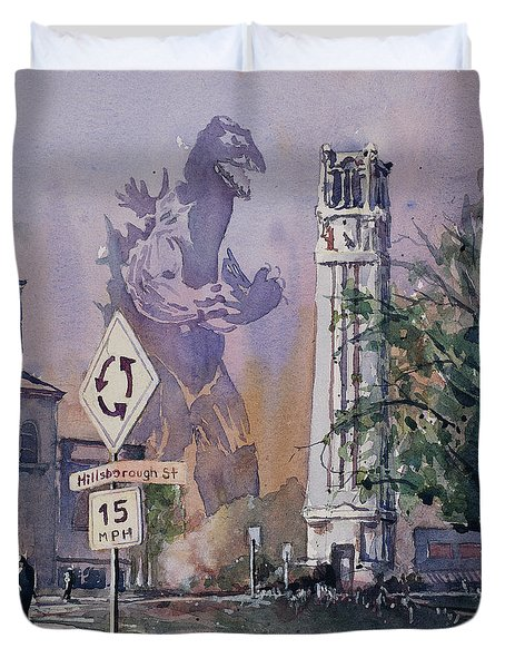 Duvet Cover featuring the painting Godzilla Smash Ncsu- Raleigh by Ryan Fox