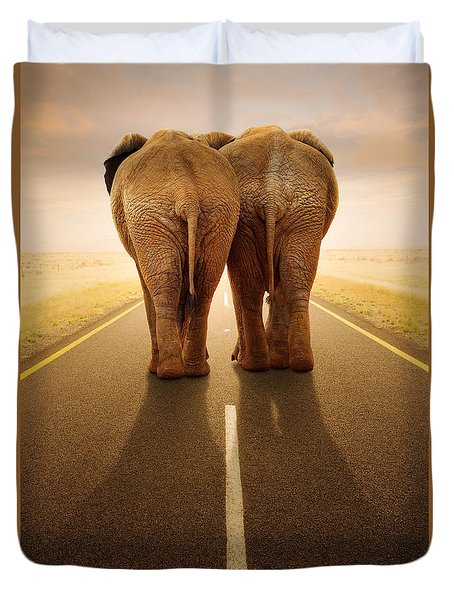 Going Away Together / Travelling By Road Duvet Cover