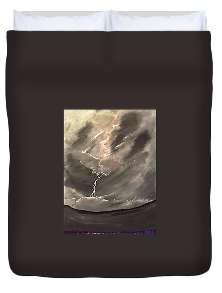 Duvet Cover featuring the painting Going Down A Storm by Scott Wilmot