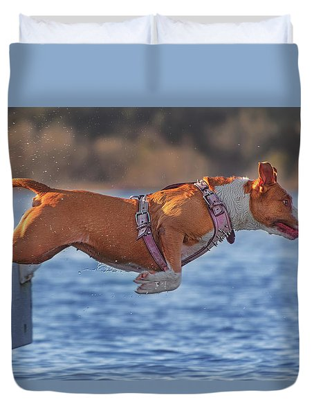 Going For A Swim  Duvet Cover by Brian Cross