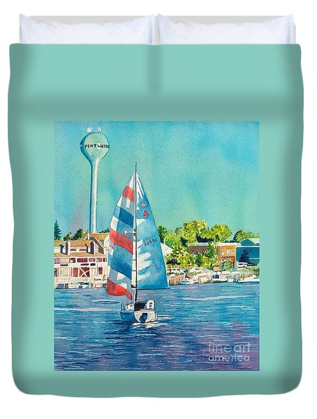 Duvet Cover featuring the painting Going Home by LeAnne Sowa