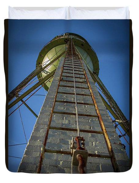 Duvet Cover featuring the photograph Going Up Mary Leila Cotton Mill Water Tower Art by Reid Callaway