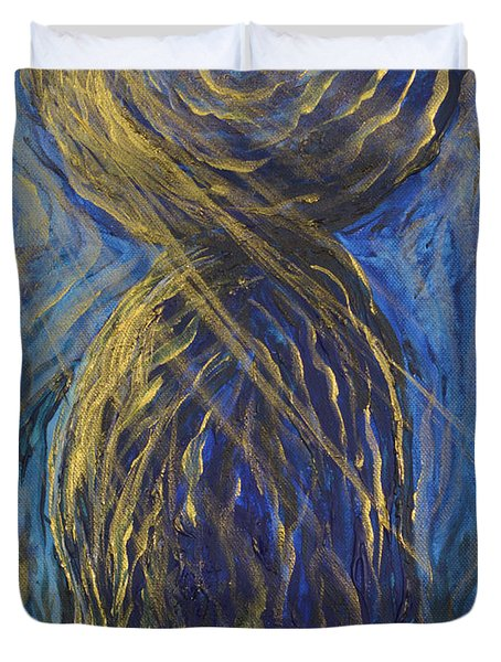 Gold And Blue Latte Stone Duvet Cover